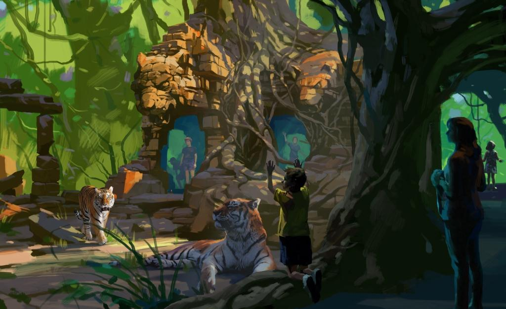 A render featuring ruins and Bengal tigers for the Tulsa Zoo's Lost Kingdom
